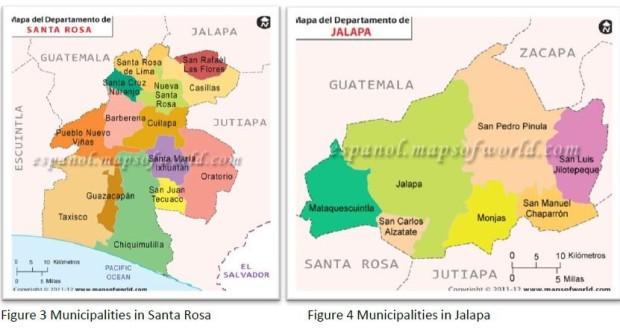 Karte Santa Rosa und Jalapa